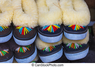 Traditional polish leather mountain boots for children...