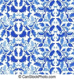 Traditional Portugal Azulejo Seamless Pattern
