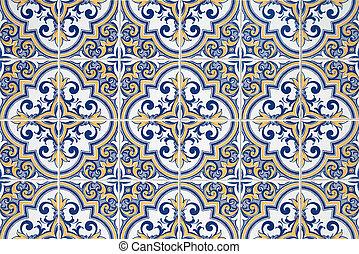 Traditional Portuguese azulejos - painted ceramic tilework.