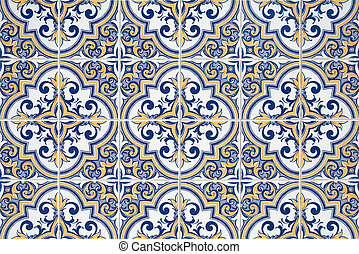 Traditional Portuguese azulejos - painted ceramic tilework.