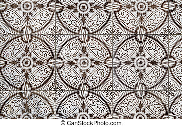 Traditional Portuguese glazed tiles - Detail of Portuguese...
