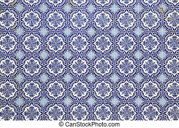 Traditional Portuguese mosaic - Azulejos - used for house decoration in Portugal