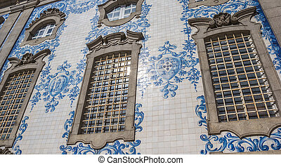Traditional Portuguese tiling on a church in Porto
