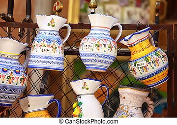 Traditional Pottery in Toledo, Spain