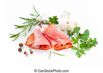 Traditional prosciutto with herbs and spicy