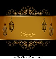 traditional ramadan kareem greeting card with lanterns