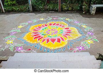 Traditional Rangoli Floral Design Indian Threshold modern adaptation to greeting