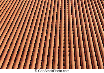 Traditional red clay roof tiles background. Top view