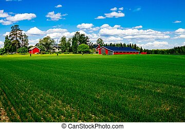 Traditional red farm house barn with white trim in open pasture with blue sky in Finland