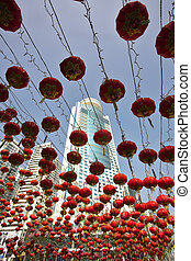 Traditional red lanterns and the modern skyscrapers