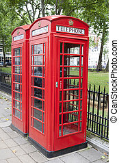 Traditional Red Telephone Cabin Box in London, England, UK