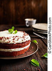 Red velvet cake with whipped cream and mascarpone filling