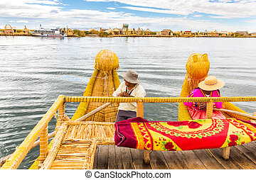 Traditional reed boat lake Titicaca, Peru, Puno, Uros, South America, Floating Islands, natural layer about one to two meters thick that support islands