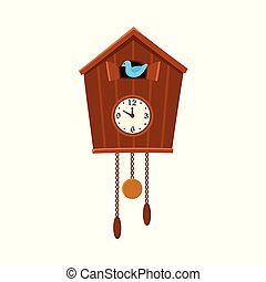 Traditional retro cuckoo clock hanging on the wall -...