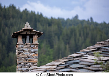 Traditional Rhodopean stone built chimney