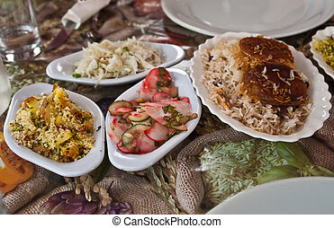Traditional rich arabian dinner