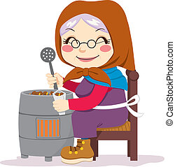 Traditional Roasted Chestnuts - Old senior woman cooking...