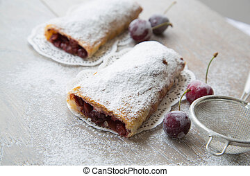 Traditional romanian and moldovan dessert with sour cherries - i