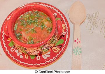 Romanian meat soup