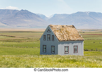 Traditional rural turf houses in Iceland.
