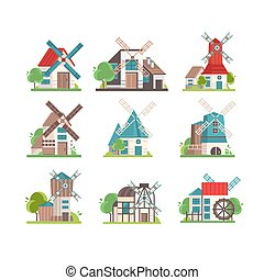 Traditional rural windmill set, ecological agricultural manufacturing vector Illustrations on a white background