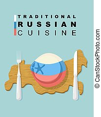 Traditional Russian cuisine. National dishes of dumplings. Meat dumpling in colors of Russian flag on a wooden cutting board in form  map of Russia. Cutlery: knife and fork. Vector illustration for restaurant.