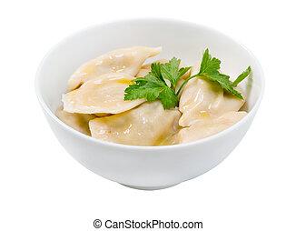 """Traditional Russian food """"pelmeni"""".Meat dumplings"""