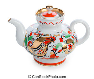 Traditional russian hand-painted teapot isolated on white background
