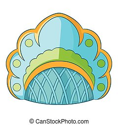 Traditional Russian headdress icon, cartoon style