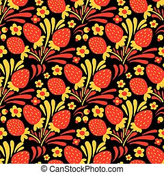 Traditional russian Hohloma style seamless pattern. Vector...