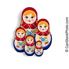 Traditional russian matrioska doll family isolated