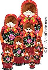 Traditional russian matryoshka doll family - Scalable...