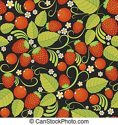 Traditional Russian seamless pattern with strawberries in style khokhloma