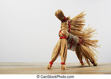 traditional Russian toy, horse of the bast on neutral