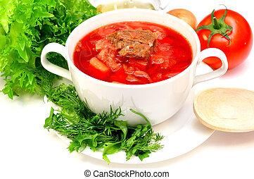 Russian-Ukrainian borscht soup - Traditional Russian-...