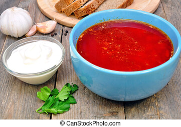 Russian-Ukrainian borscht soup - Traditional Russian-...