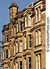 A block of traditional sandstone tenement flats from Edinburgh, Scotland.