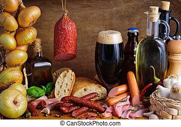Traditional sausages and beer - Still life with sausages,...