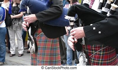 Traditional Scottish Bagpipes Singi - A front view of...
