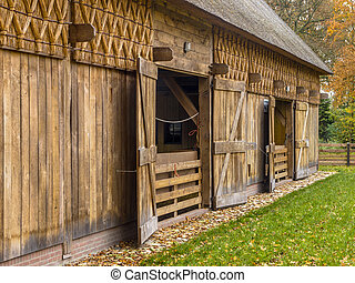 Wooden Barn in Typical European Style