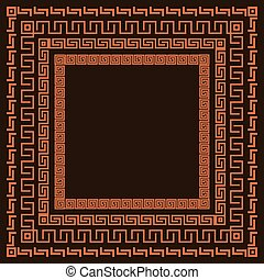 Traditional simple meander. Terrakota square frame on the brown background.