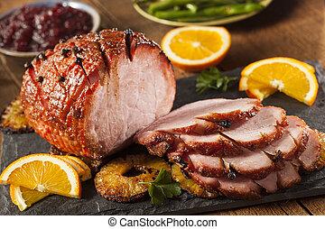 Traditional Sliced Honey Glazed Ham Ready for the Holidays