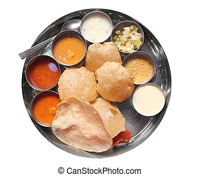 Traditional south indian lunch with puri and sambar -...