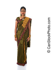 traditional south indian tamil woman with isolated white background full body