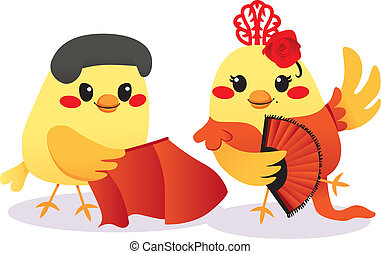 Cute male bird Torero and female bird Flamenco dancer couple