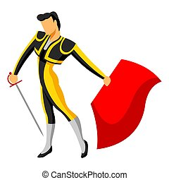 Traditional spanish corrida. Toreador with sword and red cape.