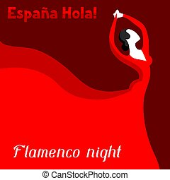 Traditional spanish flamenco. Woman in red dress is dancing