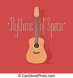 Traditional Spanish guitar vector illustration. Design...