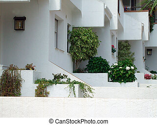 Traditional Spanish houses - Row of traditional white...