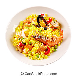 Traditional Spanish Seafood Paella in White Bowl